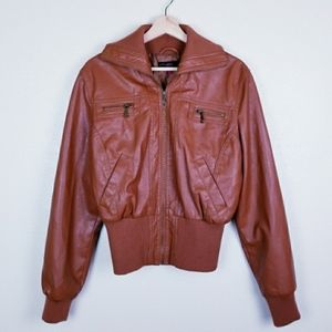 New Look Brown Faux Leather Zip-Up Jacket